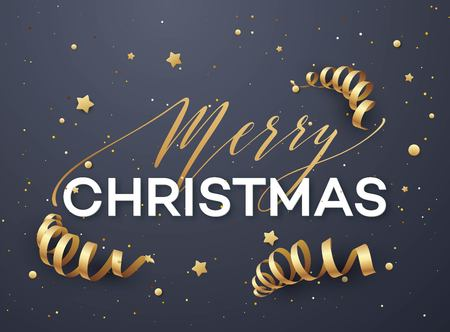 Merry Christmas greeting card vector template. Merry Christmas lettering with golden streamer, glitter and stars on dark blue background. Xmas decoration elements. Holiday banner, poster design Illustration