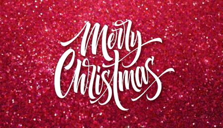 Merry Christmas greeting card glitter vector template. Sparkle texture. Xmas hand lettering with pink glitter. Merry Christmas calligraphic lettering and sparkle confetti effect. Poster, banner design