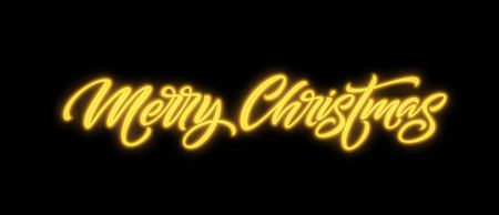Merry Christmas neon lettering. Xmas greeting sign. Merry Christmas golden neon light isolated on black background. Xmas calligraphic text. Postcard, banner design element. Vector illustration  イラスト・ベクター素材