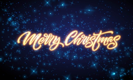 Merry Christmas neon lettering. Xmas greeting sign. Merry Christmas golden neon light isolated on black background. Xmas calligraphic text. Postcard, banner design element. Vector illustration Illustration