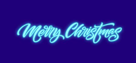 Merry Christmas neon lettering. Xmas greeting sign. Merry Christmas golden neon light isolated on black background. Xmas calligraphic text. Postcard, banner design element. Vector illustration 일러스트