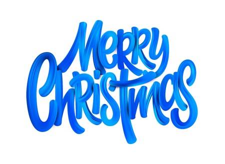 Merry Christmas acrylic paint brush lettering. Oil paint calligaraphic decoration. Christmas blue acrylic brushstrokes. Xmas paint lettering. Banner, poster 3d design element. Color isolated vector