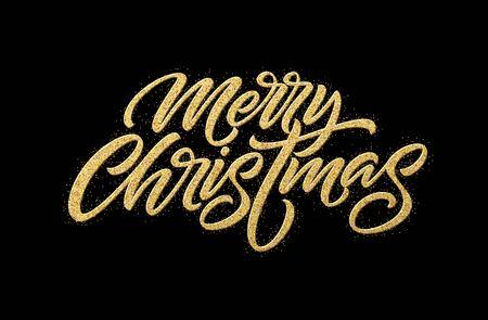Merry Christmas gold glitter lettering design. Christmas greeting card, poster, banner. Golden glittering snow, snowflakes, white dots on black background. Vector illustration EPS10