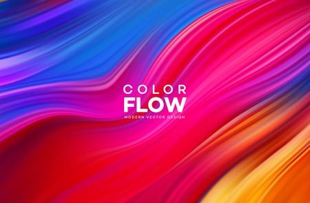 Modernes buntes Fließplakat. Farbhintergrund der Wellenflüssigkeitsform. Kunstdesign für Ihr Designprojekt. Vektorillustration EPS10