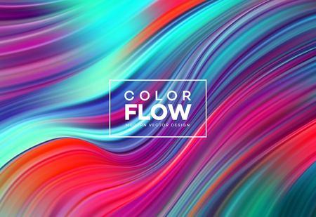 Poster moderno flusso colorato. Fondo di colore di forma liquida dell'onda. Art design per il tuo progetto di design. Illustrazione di vettore Eps10 Vettoriali