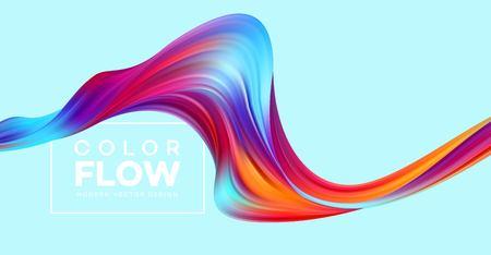 Moderne kleurrijke stroomposter. Wave vloeibare vorm kleur achtergrond. Kunstontwerp voor uw ontwerpproject. Vector illustratie Eps10