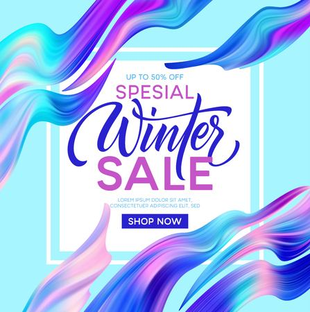 Winter sale lettering banner with color fantastic waves. Modern colorful flow poster. Wave Liquid shape. Art design for your design project Vector illustration EPS10