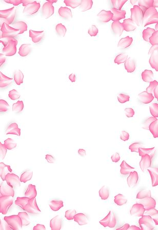 Falling red rose petals isolated on white background. Vector illustration EPS10
