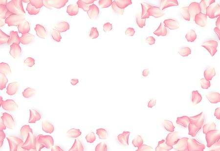 Falling red rose petals isolated on white background. Vector illustration EPS10 Ilustração