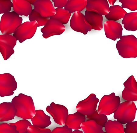 Falling red rose petals isolated on white background. Vector illustration EPS10 Çizim