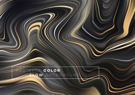 Modern colorful flow poster. Wave Liquid shape in black color background. Art design for your design project. Vector illustration EPS10 版權商用圖片 - 116148986