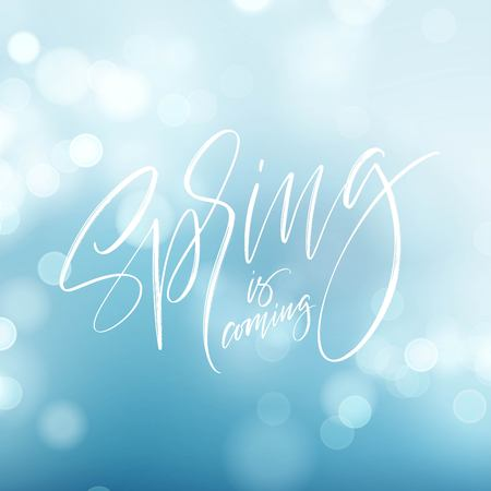 Spring is coming. Hand drawn calligraphy and brush pen lettering. Vector illustration EPS10 Illustration