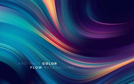 Cartel de flujo colorido moderno. Forma de onda líquida en fondo de color negro. Diseño de arte para su proyecto de diseño. Ilustración vectorial