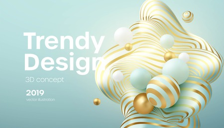 Flowing soft spheres. Abstract background with 3d geometric shapes. Modern cover design. Vector realistic illustration EPS10