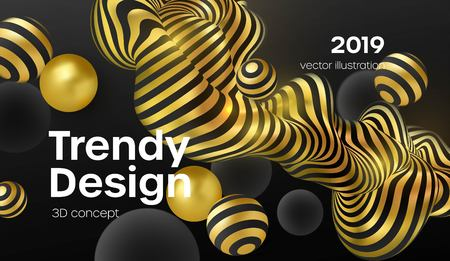 Abstract background with 3d dynamic shapes. Black bubbles. Modern cover concept. Decoration element for banner design. Vector illustration EPS10