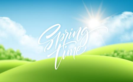 Spring time green grass landscape background with handwriting lettering. Vector illustration Illustration