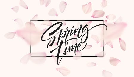 Cherry blossom petal background with Spring time lettering. Vector illustration EPS10 Çizim