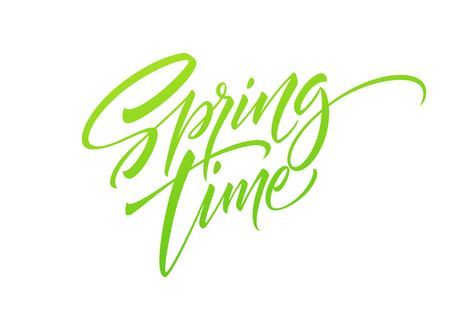 Spring time Hand drawn lettering. Isolated on white background. Vector illustration EPS10
