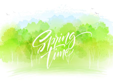 Watercolor landscape background with Spring time lettering. Vector illustration EPS10 Çizim