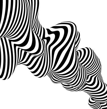 Linea in bianco e nero di disegno dell'onda del fondo a strisce astratto. Illustrazione vettoriale Eps10