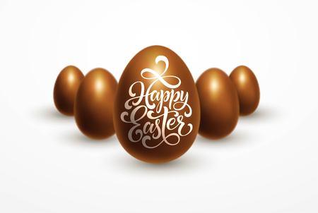 행복 한 부활절 글자와 흰색 배경에 고립 된 초콜릿 계란 부활절 휴가. 벡터 (일러스트)