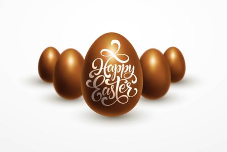 Easter holiday with chocolate eggs isolated on white background with Happy Easter lettering. Illustration