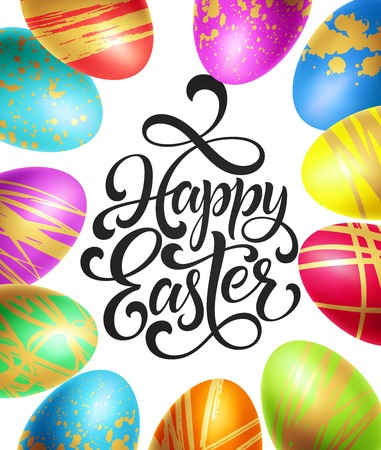 Happy Easter background template with lettering with Colorful Eggs. Vector illustration EPS10