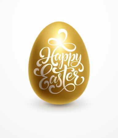 Happy Easter lettering on the golden egg background. Hand drawn calligraphy and brush pen design for holiday greeting card and invitation. Vector illustration EPS10 Çizim