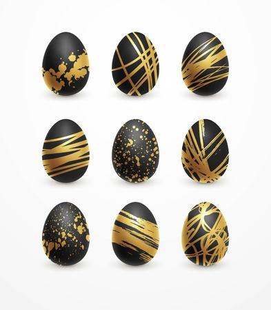 Happy Easter realistic black and golden shine decorated eggs set. Vector illustration EPS10