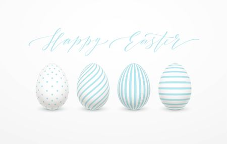 Happy Easter Egg lettering on the background with white and blue egg. Vector illustration EPS10