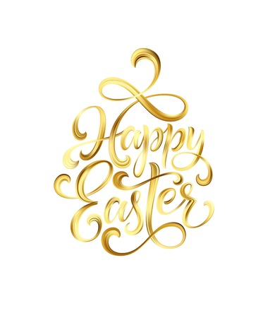 Happy Easter gold paint lettering. Illustration