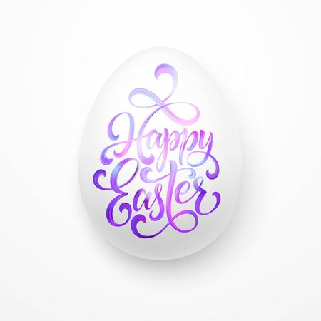 Greeting card with Easter egg and handwritten inscription Happy Easter. Vector illustration EPS10