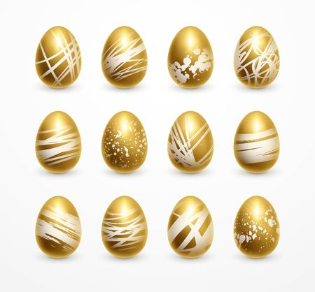Happy Easter realistic golden shine decorated eggs set. Vector illustration Çizim