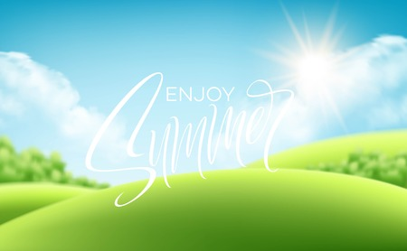 Frash green grass landscape background with handwriting Summer lettering. Vector illustration EPS10