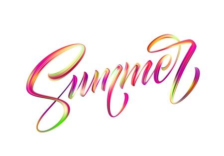 Summer Handwritten brush stroke acrylic paint lettering. Illustration
