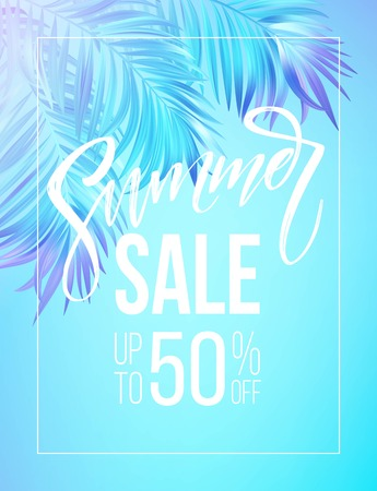 Summer sale lettering design in a colorful blue and purple palm tree leaves background. Vector illustration EPS10