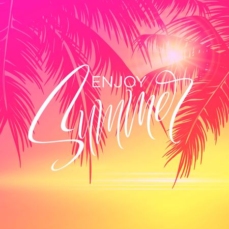 Summer lettering poster with palm trees background in pink colors. Vector illustration EPS10 Çizim
