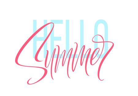 Hand drawn lettering Hello Summer. Vector illustration EPS10