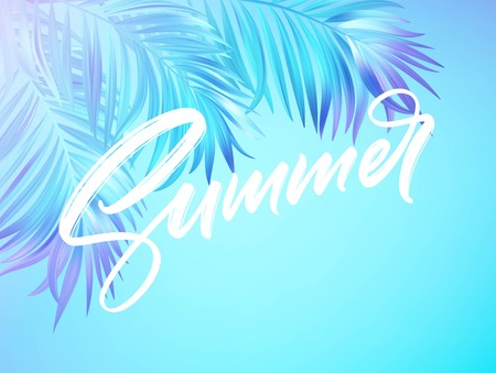 Summer lettering design in a colorful blue and purple palm tree leaves background. Vector illustration EPS10