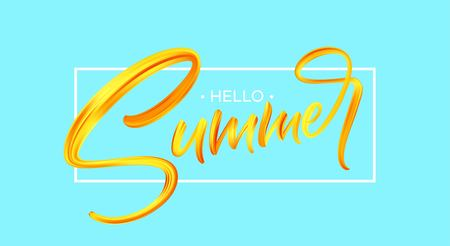 Summer Handwritten brush stroke acrylic paint lettering. Çizim