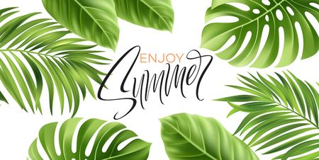 Summer poster with tropical palm leaf and handwriting lettering. Vector illustration EPS10 Illustration