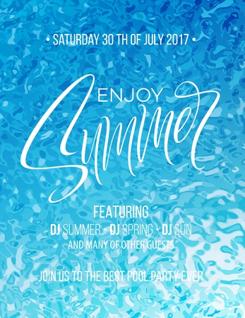 Enjoy Summer hand lettering poster. Hand drawn calligraphy on the pool background. Vector illustration EPS10