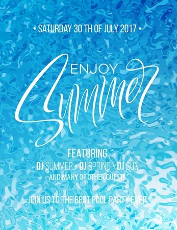 Goditi il poster con scritte a mano estive. Calligrafia disegnata a mano sullo sfondo della piscina. Illustrazione vettoriale Eps10