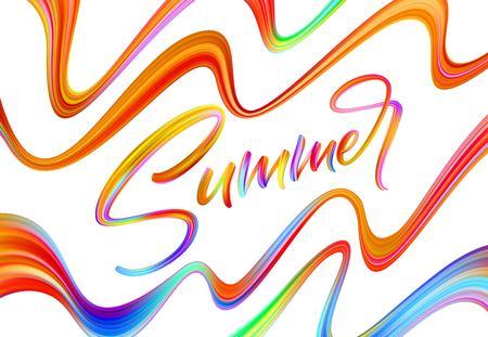 Summer Handwritten brush stroke acrylic paint lettering. Vector millustration