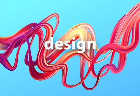 Fluid poster design. Abstract 3d shape template. Vector illustration EPS10 Çizim