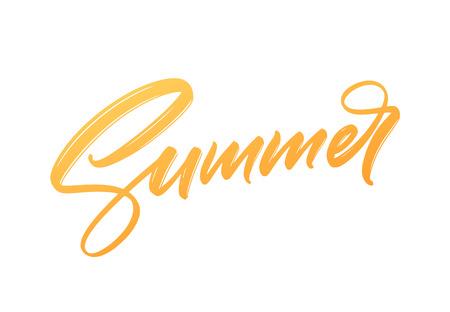 Summer Handwritten brush stroke acrylic paint lettering. Vector illustration Illustration