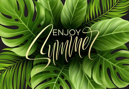Summer poster with tropical palm leaf and handwriting lettering. Vector illustration EPS10 Çizim
