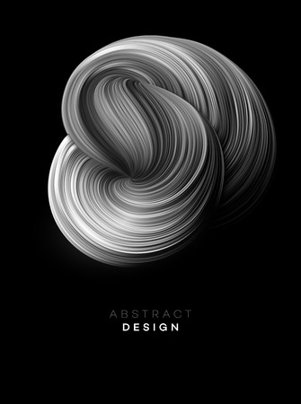 Black Color Flow Abstract shape poster design. Vector illustration EPS10