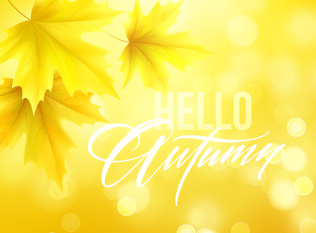 Autumn poster with lettering and yellow autumn maple leaves. Vector illustration