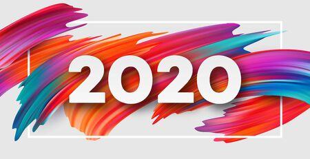 Feliz año nuevo 2020. Inscripción de saludo de letras. Ilustración de vector EPS10